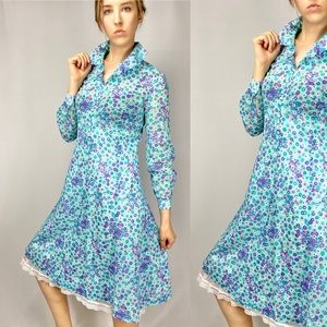 1960s blue psychedelic floral party dress